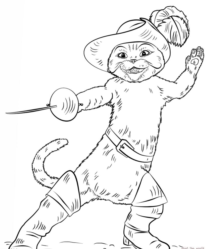 раскраска Кот в сапогах 6