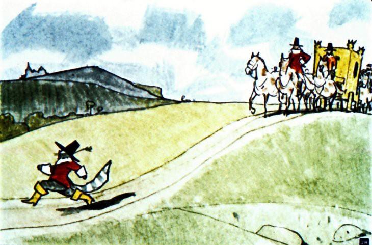 Кот в сапогах бежит