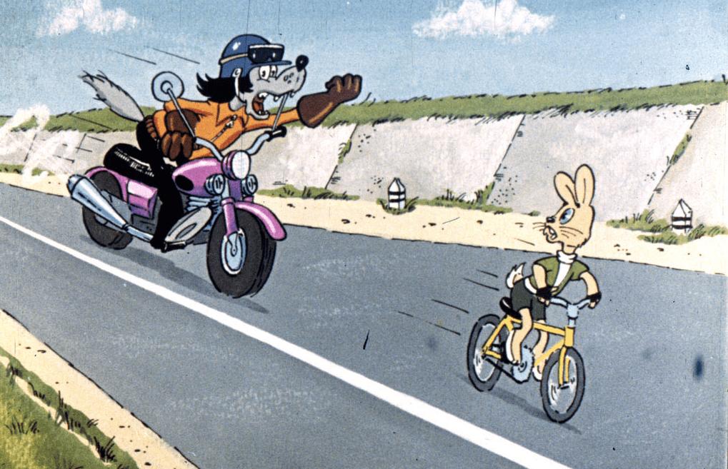 волк гонится за зайцем