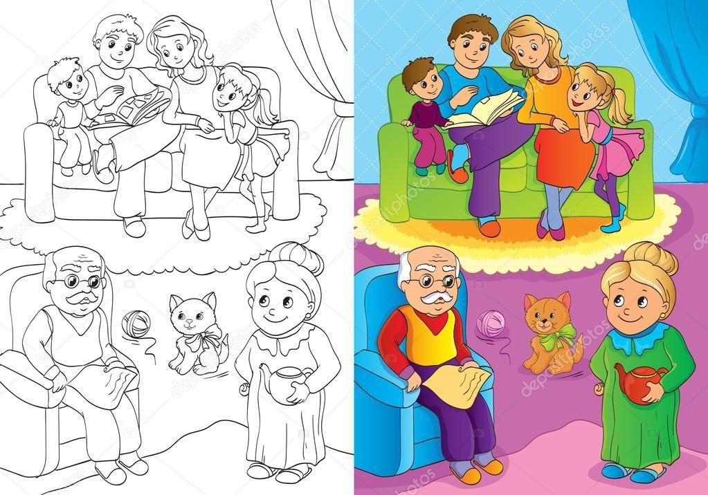 раскраска семьи