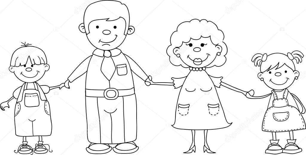 Раскраска дедушка и бабушка 5