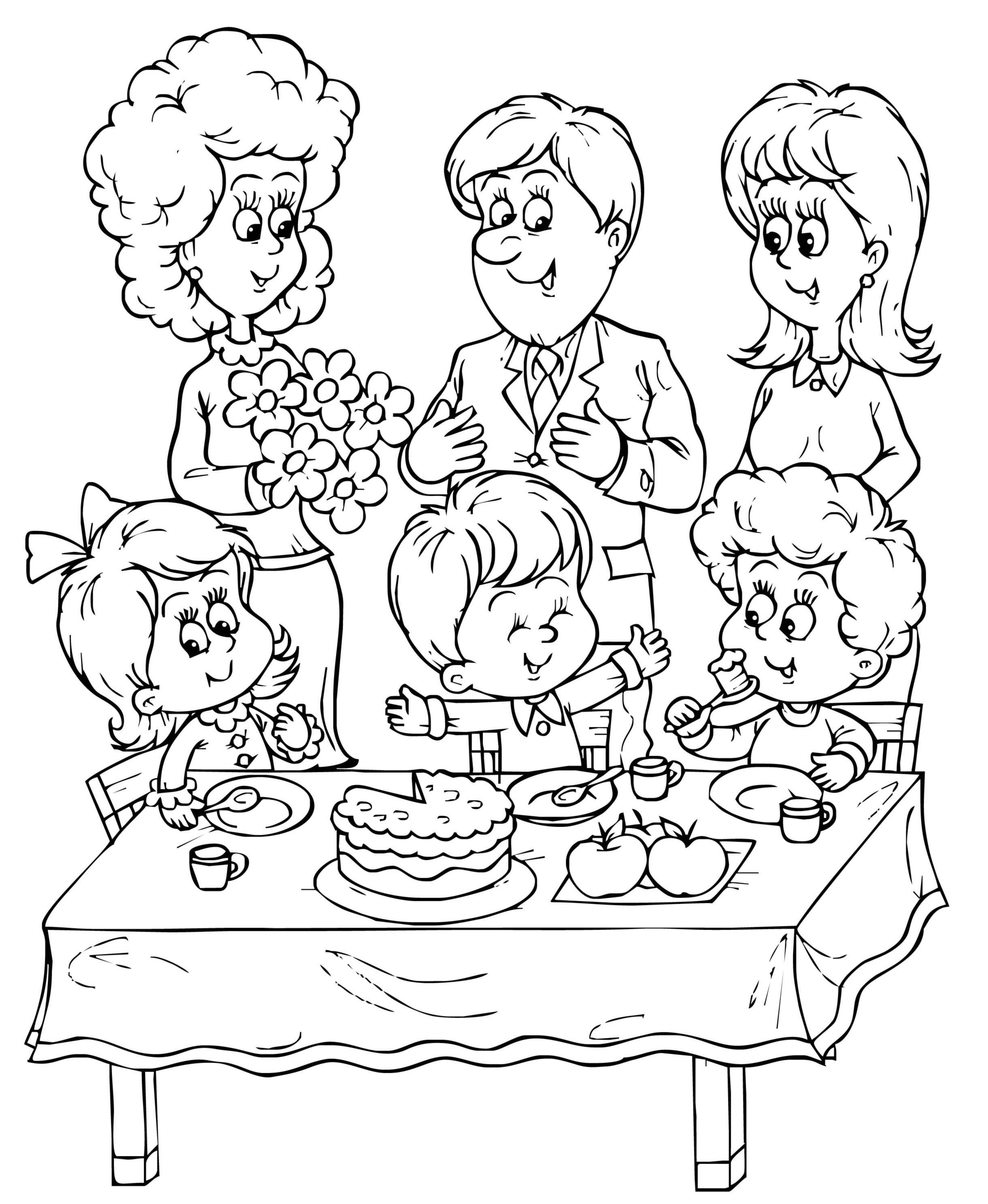 Семья для раскраски 3