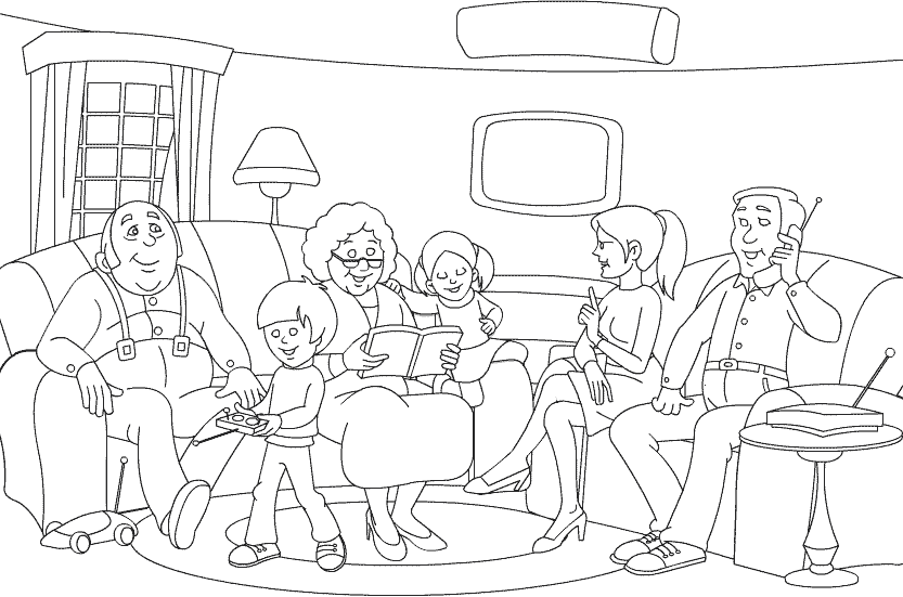 Большая семья на диване