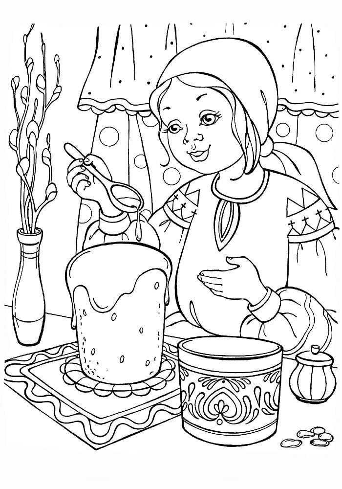 Девушка готовит кулич фото