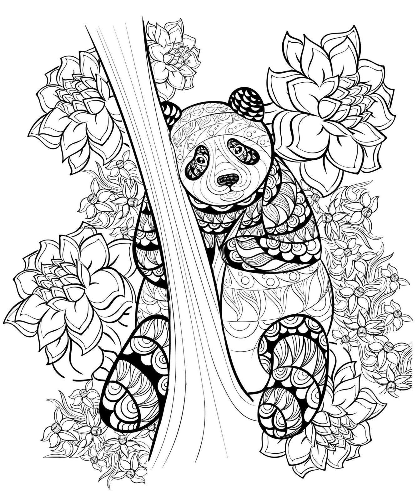 раскраска антистресс панда 42