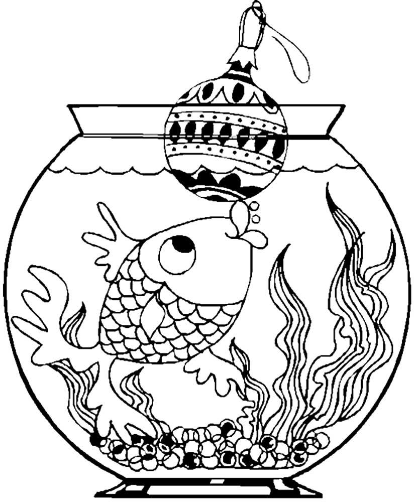 аквариум с рыбкой рисунок