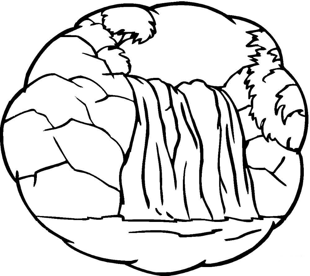 раскраска водопад 222