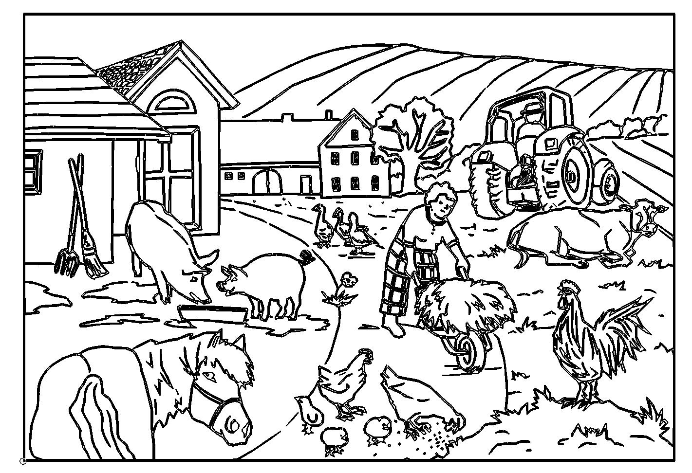 раскраска деревня 14