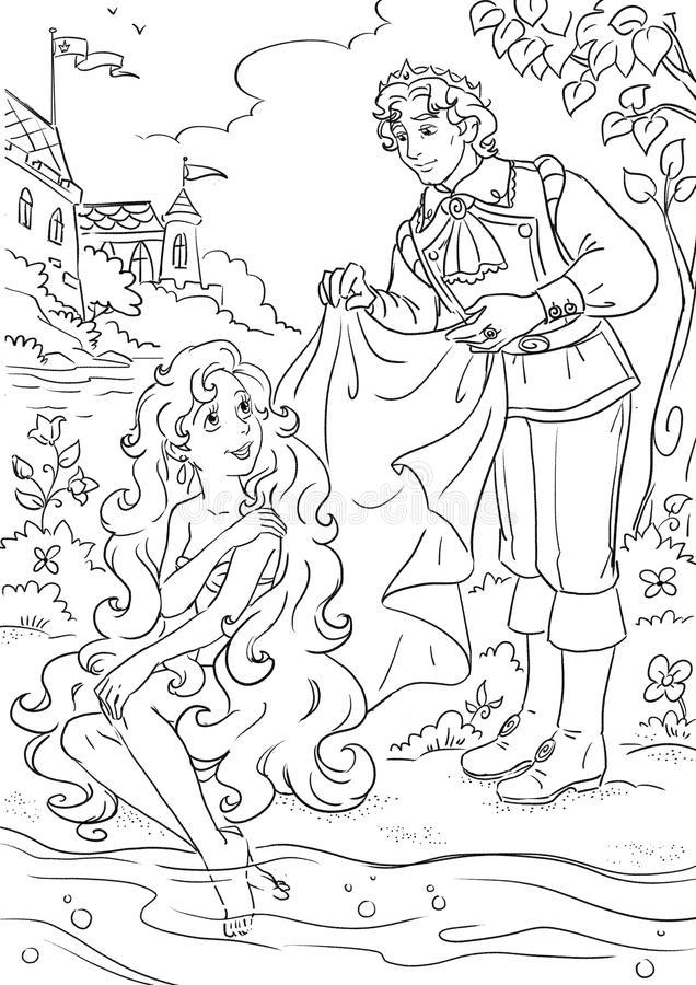 Раскраска русалочка с принцем 7
