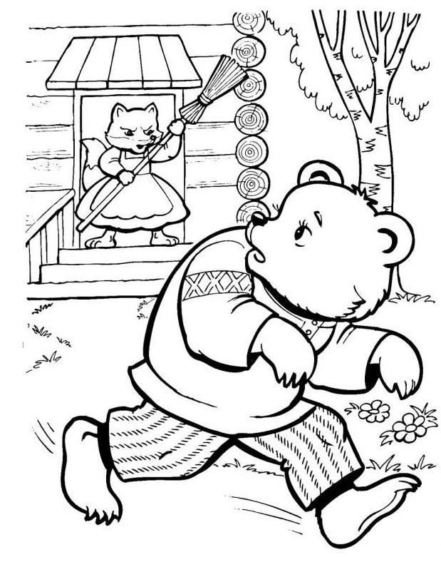 медведь убегает от лисы
