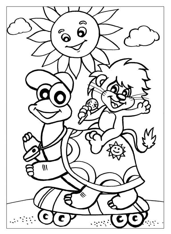 Раскраска львёнок и черепаха 577