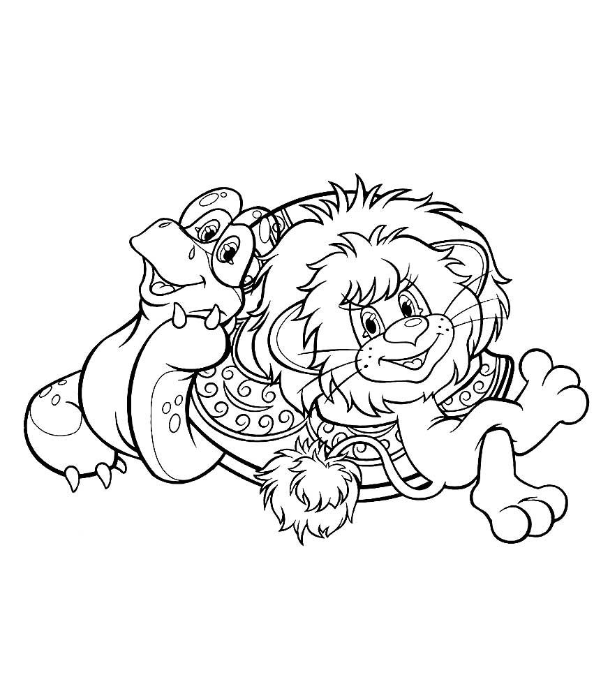 Раскраска львёнок и черепаха 500