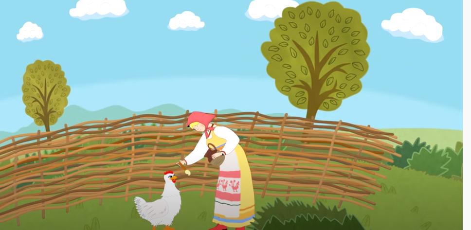 Хозяйка передаёт курице масло