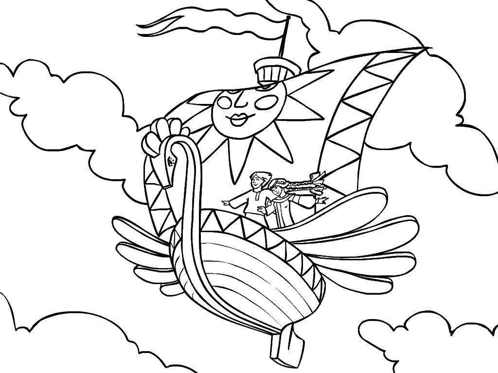 Раскраска летучий корабль