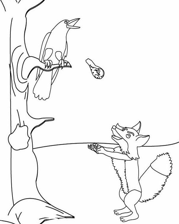 Раскраска ворона и лисица 66