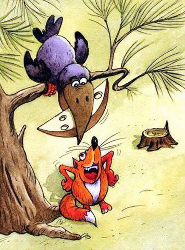 мультяшные ворона и лисица