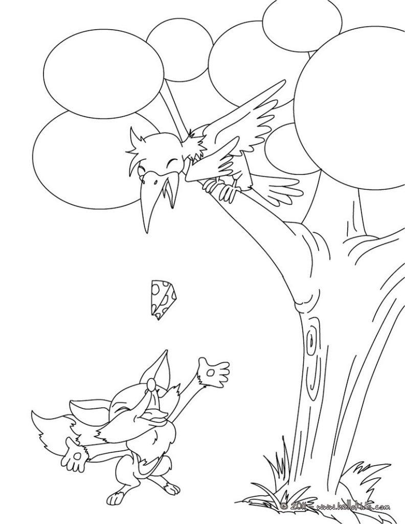 Раскраска ворона и лисица 622