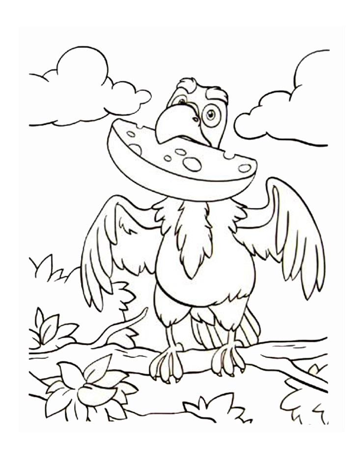Раскраска ворона 7